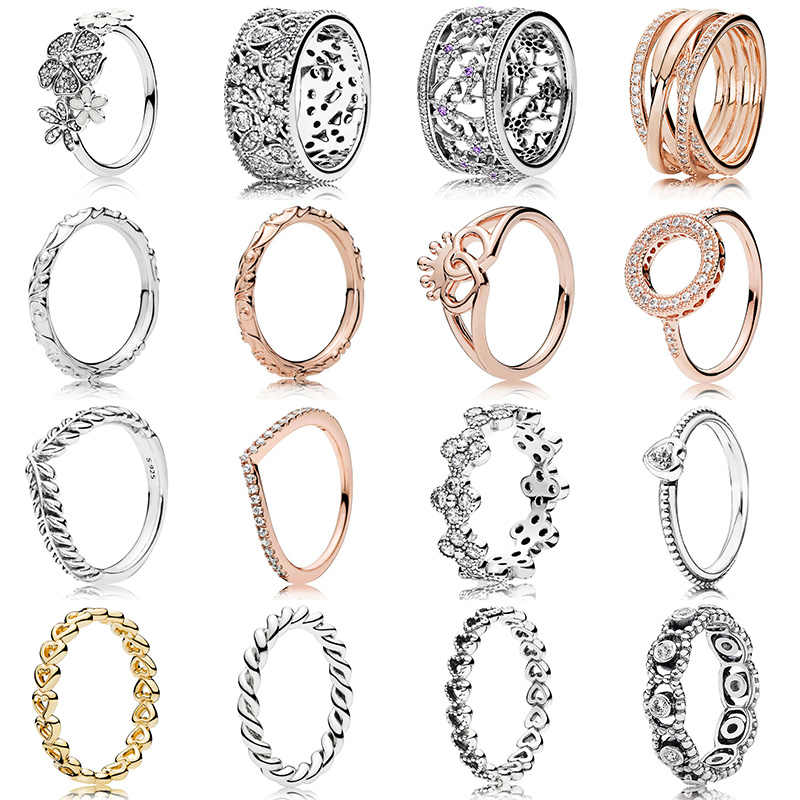 16 Style 1 Pcs Women Silver Rings With Rose Gold Flower Wheat Ear Love Heart Crown Crystal Ring For Women Jewelry Gift