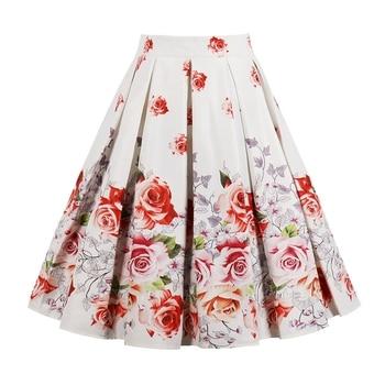 ZAFUL 2018 Summer Style Vintage Skirts Women High Waist Green Skirts Vintage Elegant Floral Print Midi Skirt A-Line Party Skirt Юбка