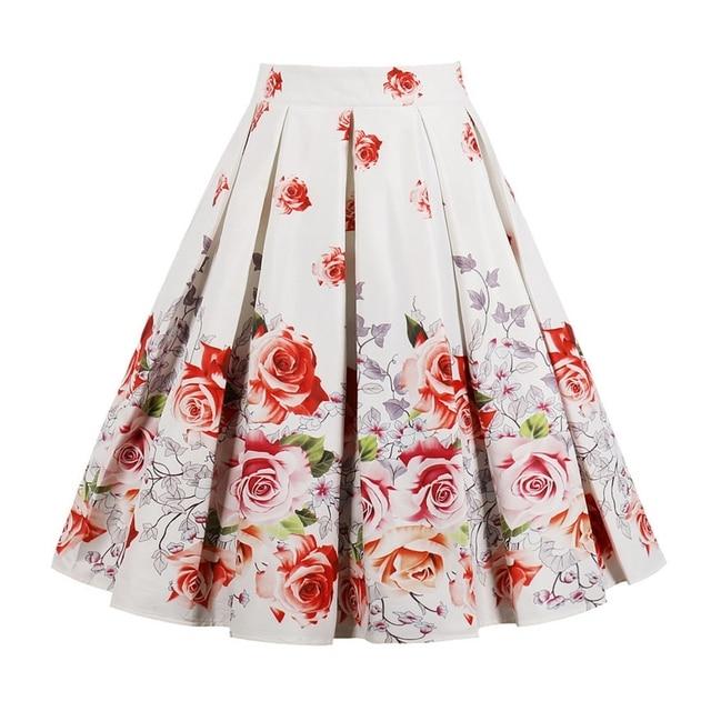 Wipalo Цветочный принт Винтаж юбки для женщин; Большие размеры Высокая Талия до колена Длина юбки Повседневное оборками Миди-юбки трапециевидной формы вечерние юбка