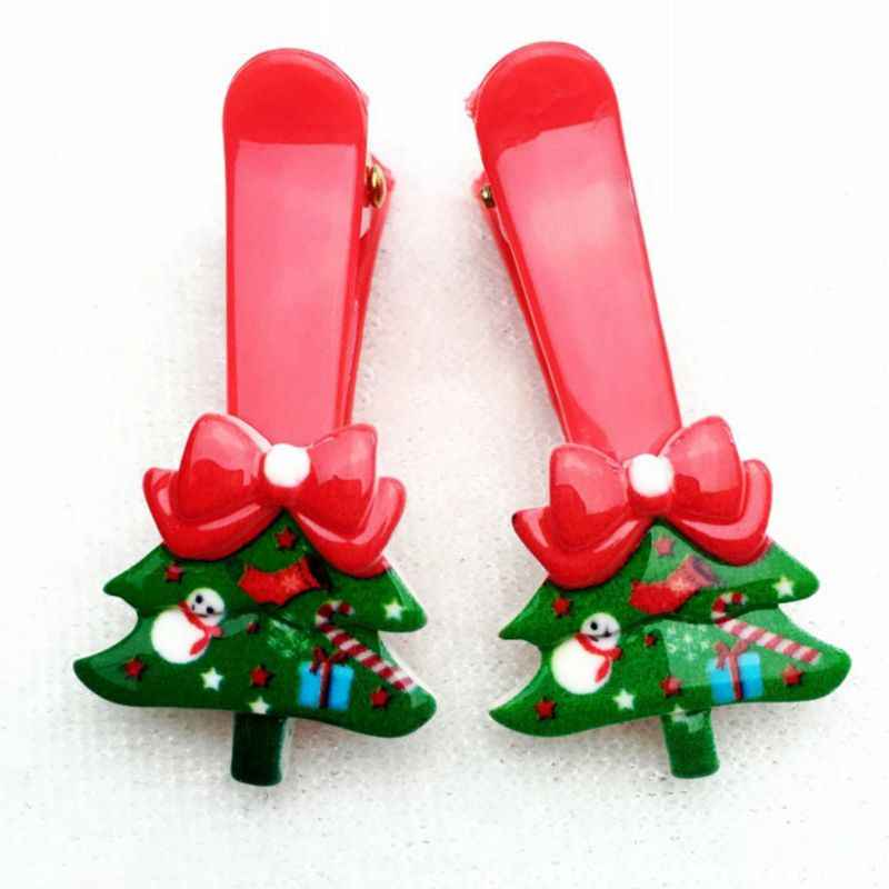 1 шт., Детские Рождественские перчатки с зажимами для волос с мультяшным рисунком для маленьких девочек, заколки для волос Санта-Клауса, пластиковые заколки для волос из смолы