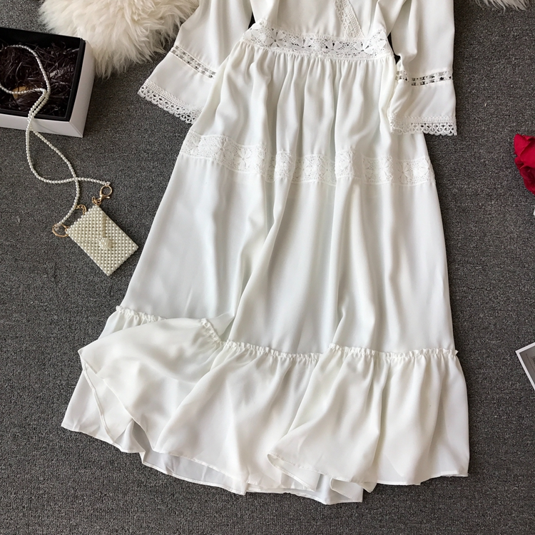 Women Bohemian Dress Lady Half Sleeve V Neck Red and White Beach Holiday Elegant Vestidos E152 22