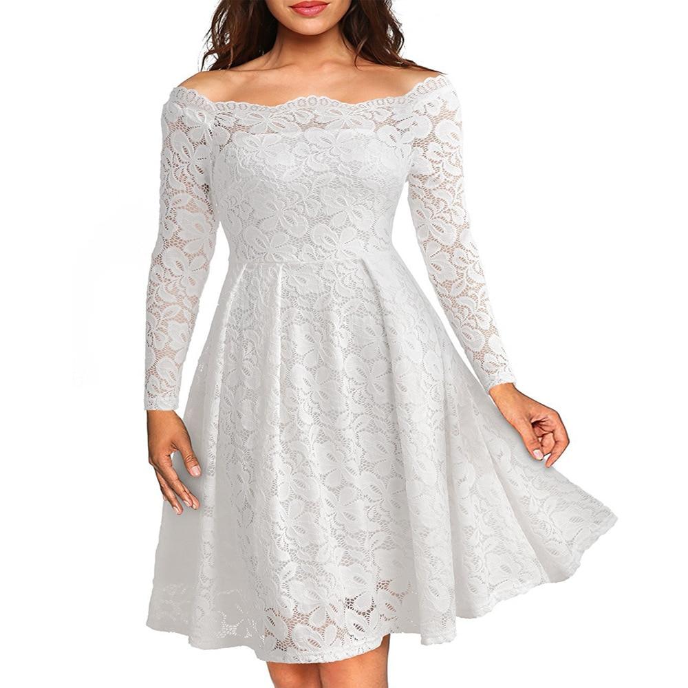 Nytt 2017 vårmode ihåligt elegant vit spets Elegant festklänning - Damkläder - Foto 5