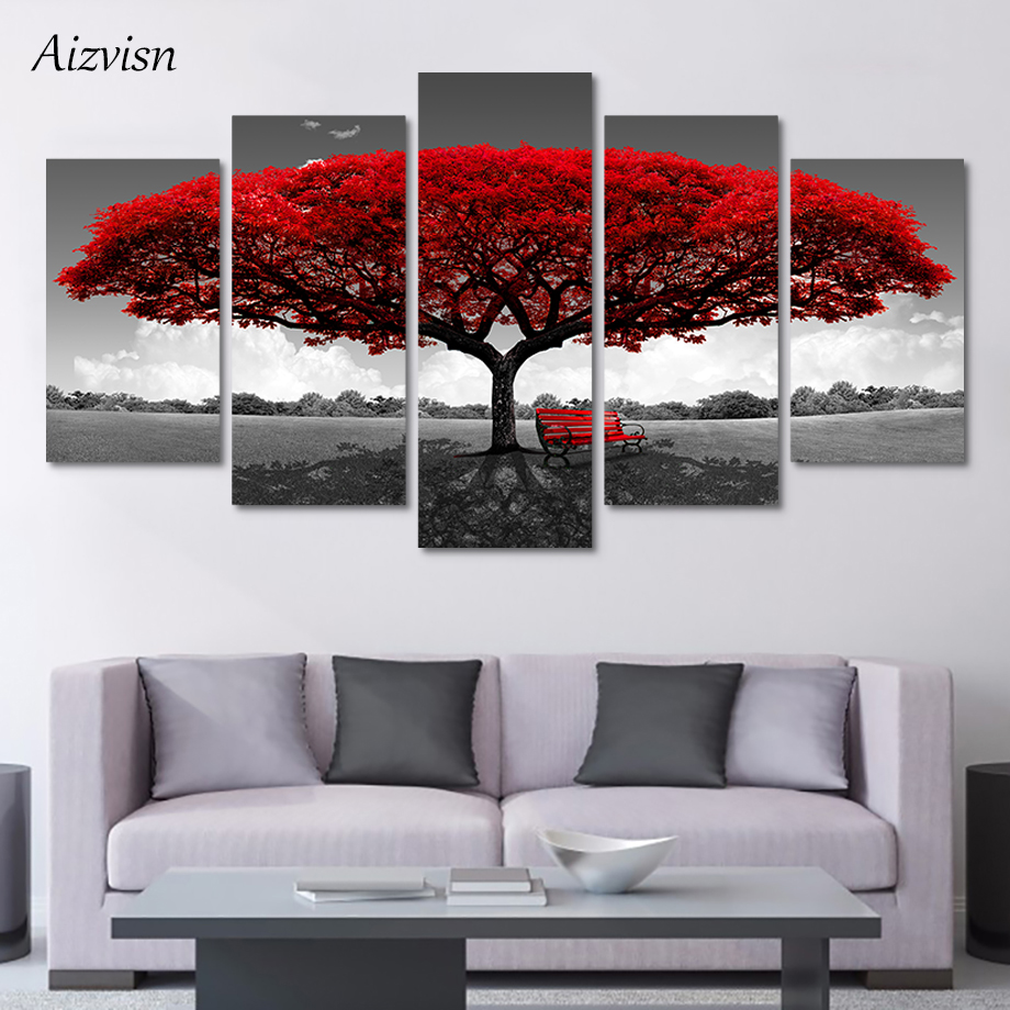 Aizvisn 5 Pcs Home Decor Print Canvas Modern Painting Art Black White Background Mangrove Landscape Poster Wall Modular Picture