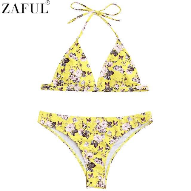 4eb335e34c ZAFUL Women Sexy Bikini Swimsuit Swimwear Beachwear Tiny Floral Bikini  Brazilian Biquinis Maillot De Bain High Cut Bikini Set