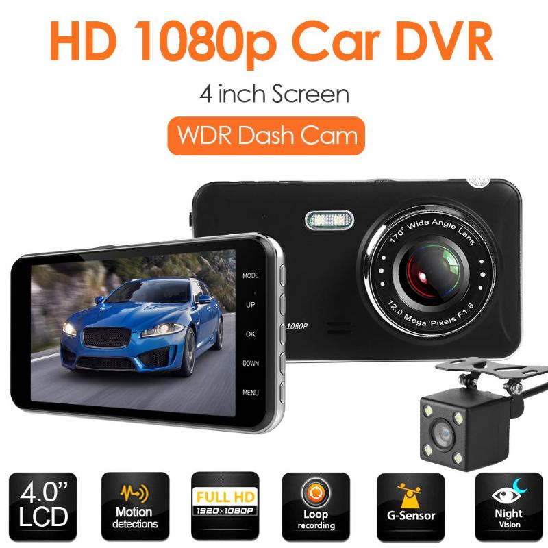 FHD 1080p Car DVR 4.0 Inch Dash Camera Dual Lens Infrared Night Vision G-sensor Dashcam  With Rearview Camera Auto DVRs(China)