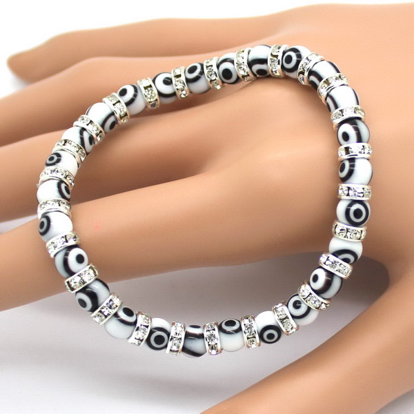 1pcs Free Shipping Por Evil Eyes Bracelets Whole White Bead More Women Bracelet