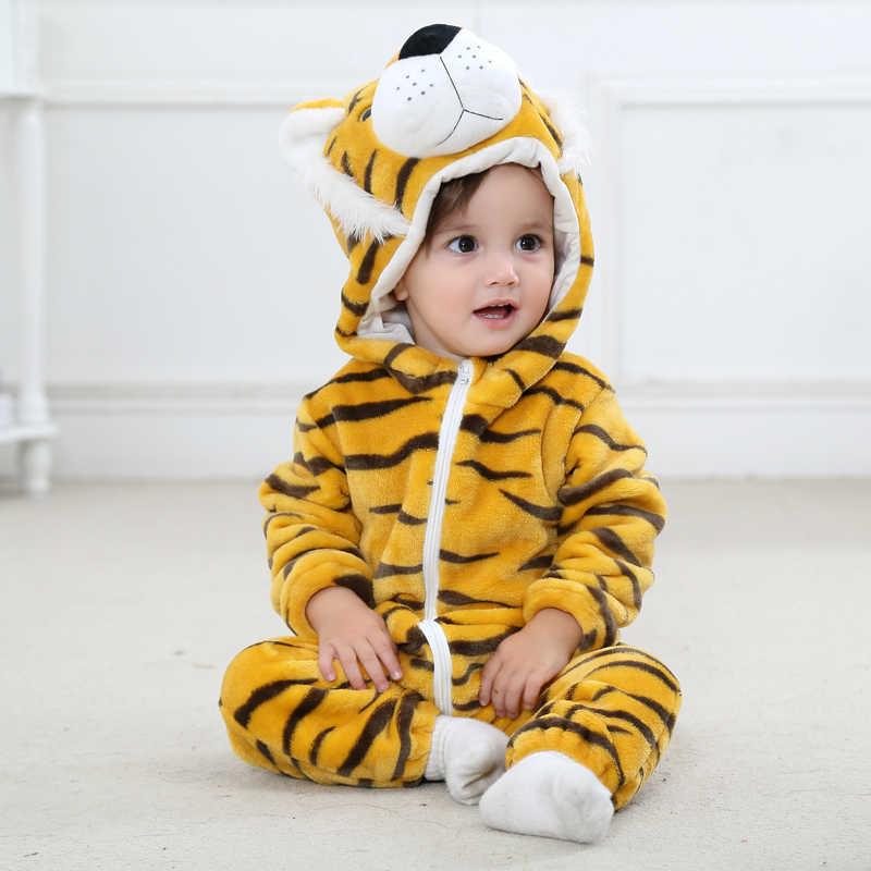 Детские комбинезоны для мальчиков и девочек; фланелевый комбинезон с рисунком животных; сезон осень-зима; детские комбинезоны с капюшоном; Bebe; детский Единорог для малышей; одежда