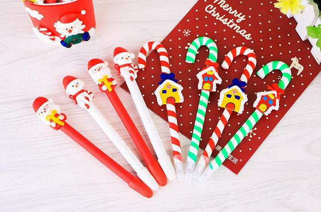 Candy Cane Pen Christmas Party Dolls Polymer Clay Ballpoint Children Kids Prize Festive XMAS Birthday