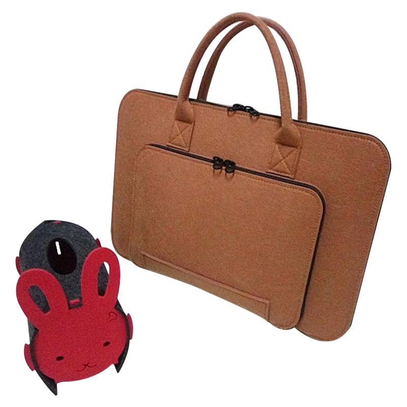 Felt Universal Laptop Bag Notebook Case Briefcase Handlebag Pouch For Macbook Air Pro Retina 13-14 Inch Men Women(Brown)