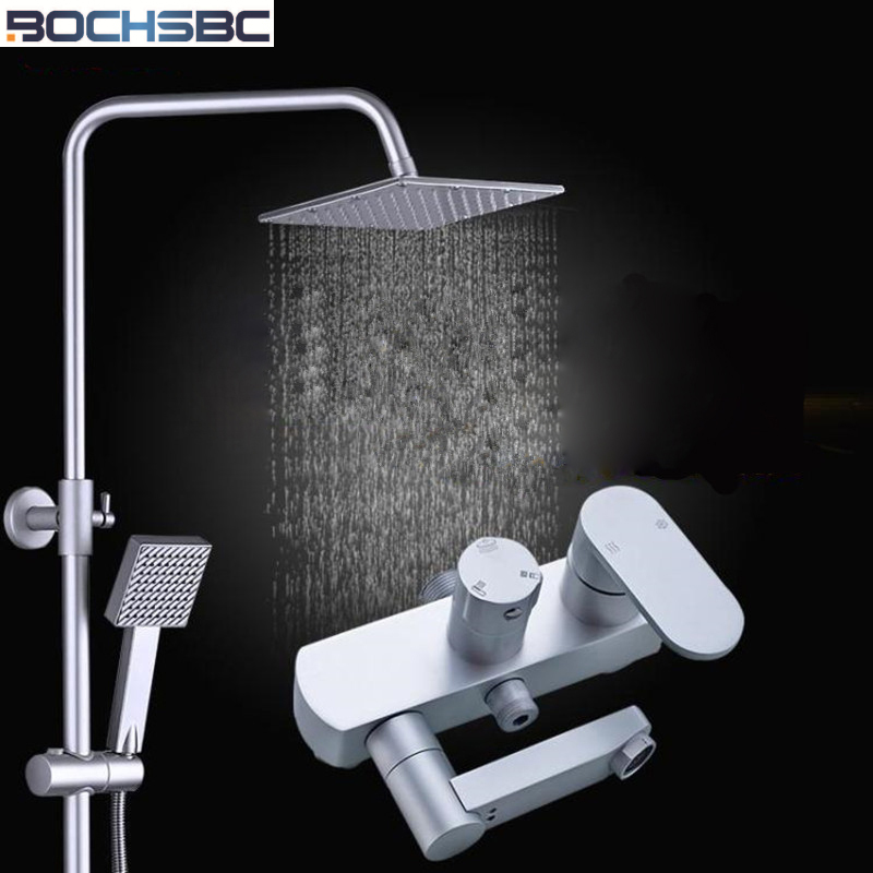 BOCHSBC Hot and Cold Water Shower Set Space Aluminum Faucet Bathroom Rain Shower Suite Nozzle Lift Pressure Chuveiro do Banheiro