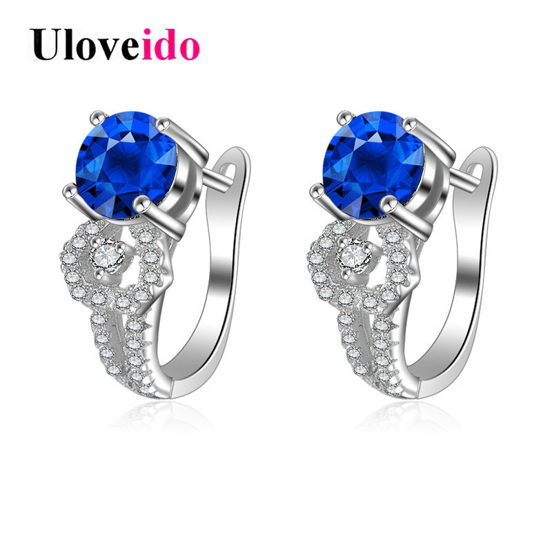 Uloveido 40% Off Stud Earrings with Stones 925 Sterling Silver Earring Blue Zircon Earings boucle doreille with Gift Box EH011