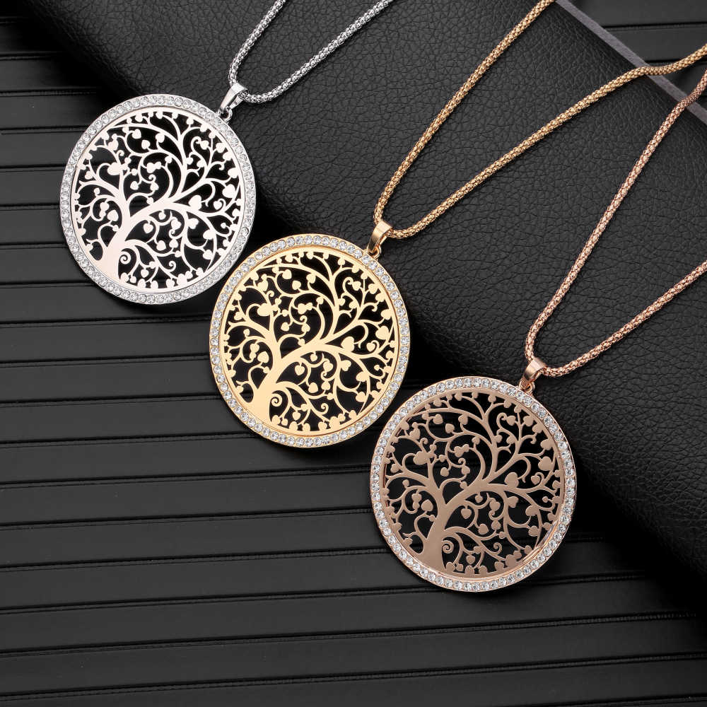 Tree Of Life Pendant Necklace for Women Statement Jewelry Crystal Round Gold Necklace Long Necklace collares largos de moda 2019
