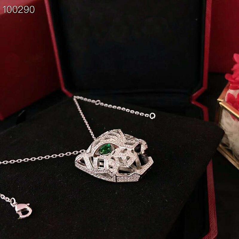 Collier tête de léopard en argent Sterling AAA Zircon 925 yeux verts de luxe