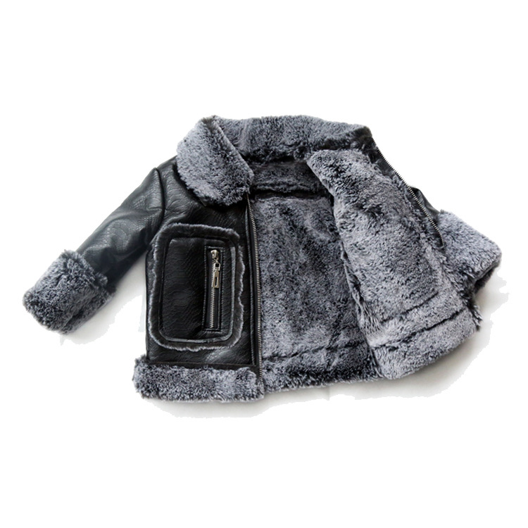 Kids PU Leather Thick warm velvet Jackets Girls Leather fur Coat Children Outerwear Boys Brand Jacket Windbreaker 18m-11T pu leather velvet blood halloween choker page 2