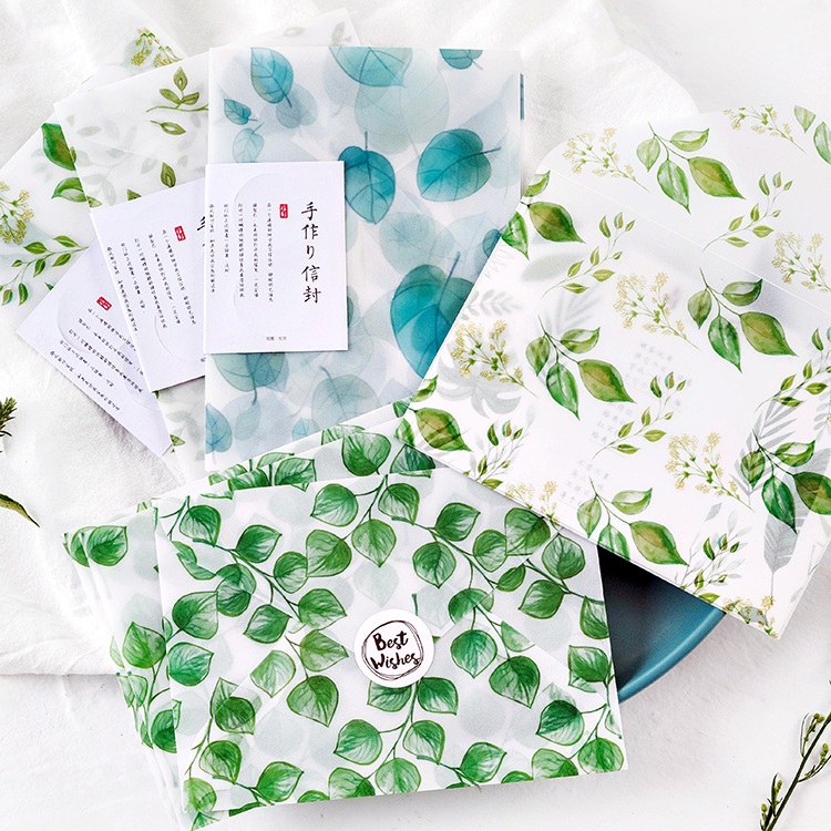 3pcs Cute Kawaii Green Plants Leaves Sulfuric Acid Paper Envelope For Kids Postcard Festival Card Gift School Supplies