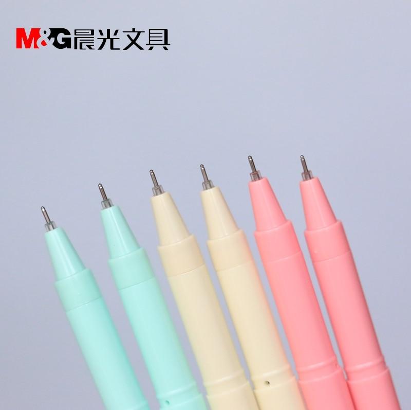 Gel Pen with Transparent Barrel Fashion 0.5mm 0.38mm Nib School Supplies 7Pcs