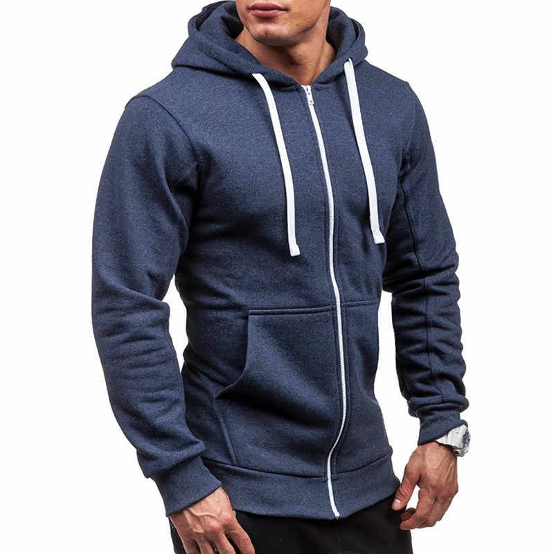 0e58656a652 Spring Fall Male Cardigan Full Zip Hoodie Long Sleeve Hooded Sweatshirt  Tech Fleece Plus Size Coat