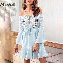 MayHall Slash Neck Tie Up Ruffles Autumn Women Mini Dress Sexy Waist Adjustable Loose Chiffon Dresses Casual vestido 2018  MH178