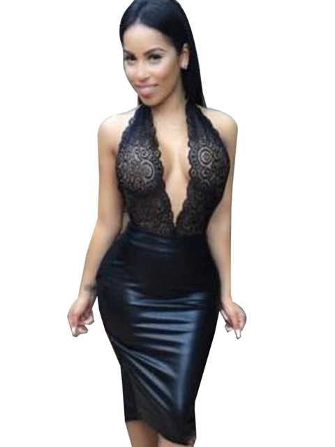 Lace Low Cut Plunge Deep V Neck Cleavage Dress Sexy Black Club Wear Dress  Halter Bodycon cc0be47c1d02