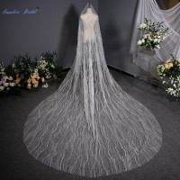 Sapphire Bridal Sequin Cut Edge 3.5M Bridal Veil Generous 1 Layer Exquisite Wedding Veil Long with Comb Wedding Accessories