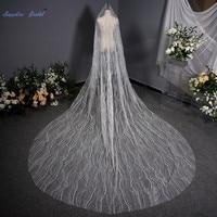Sapphire Bridal Sequin Cut Edge 3.5M Bridal Veil Generous 1 Layer Exquisite Wedding Veil Long with Comb Wedding Accessories