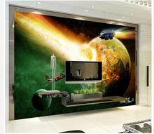 customized wallpaper for walls Home Decoration 3D spaceship space science fiction TV backdrop wallpapers for living room