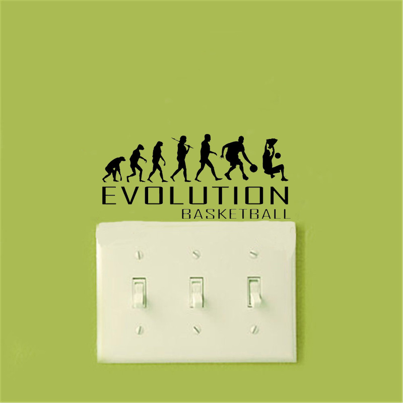 Evolution Of Basketball Wall Sticker Art Sports Hoop Ball Wall Stickers For Kids Rooms A2089