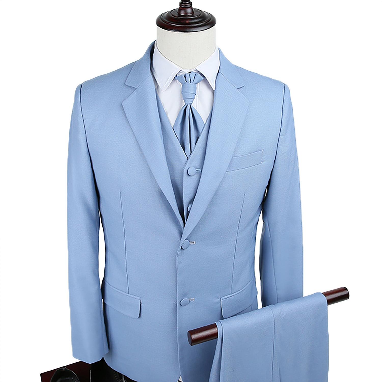 Men 3 Pieces Suit Slim Button Dress Light Blue Suit with Ties ...