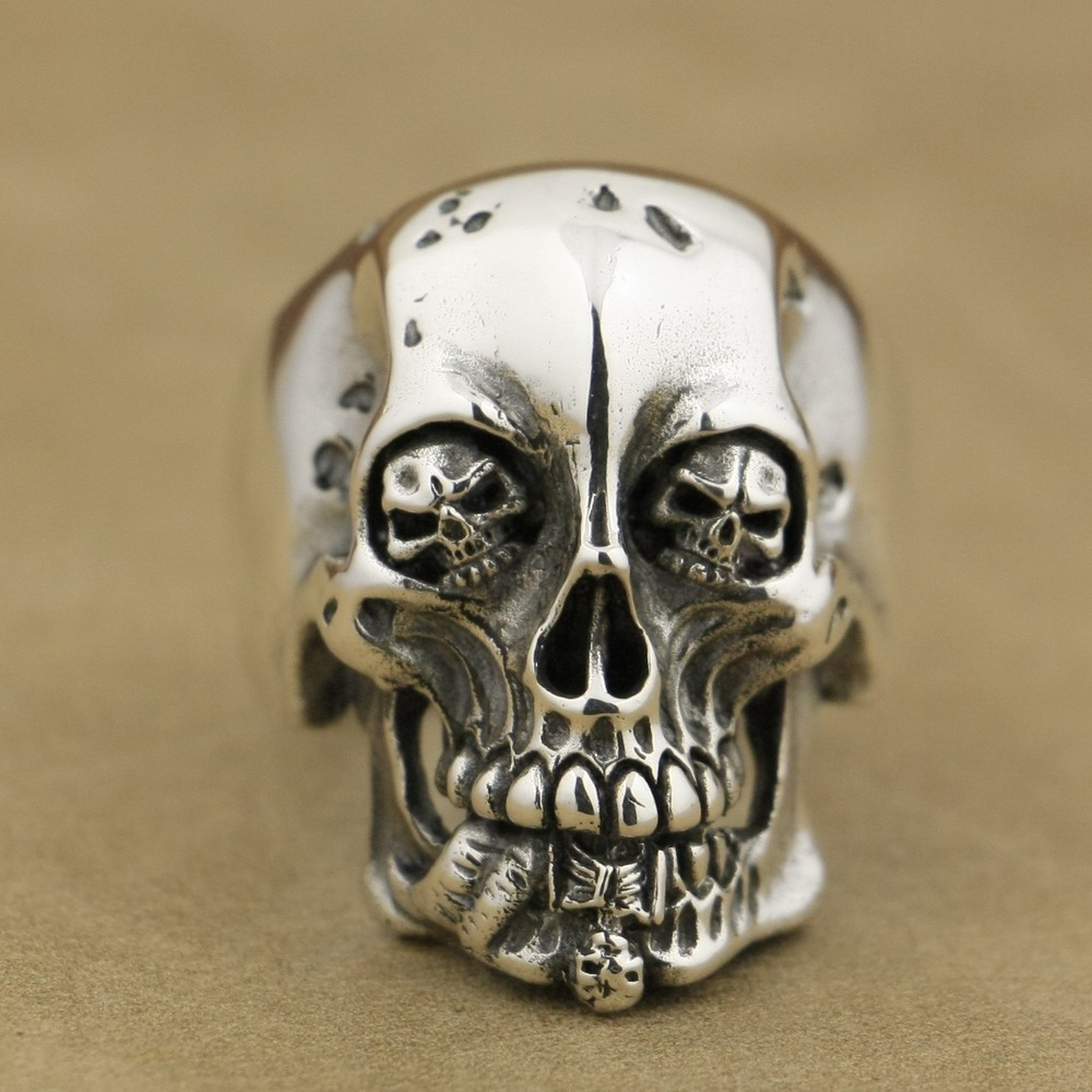 LINSION Handmade 925 Sterling Silver High Details Skull Mens Biker Rock Punk Ring TA76 US Size 7~15 925 sterling silver high details skull ring mens biker punk ring ta118a us 7 15
