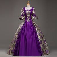 Customized 2018 Purple Jacquard Retro Palace Victorian Period Dress Renaissance Southern Belle Marie Antoinette Ball Gowns