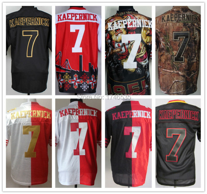 64a8aeb8a ... Wholesale Mens Elite Split American Football Jerseys 7 Colin Kaepernick  Jerseys Stitched Rugby Shirt Red Nike 49ers ...
