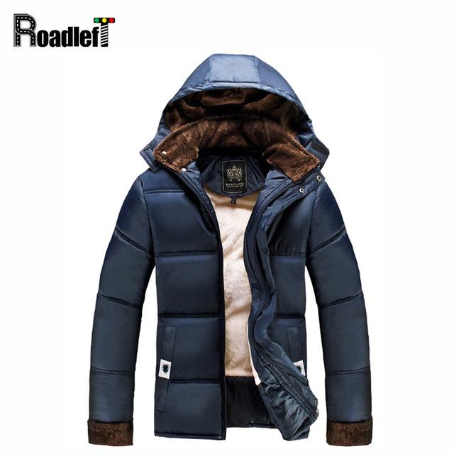 Mens moda casaco espessamento forro de algodão amassado Homens jaqueta de roupas de inverno outerwear homens trincheira parka