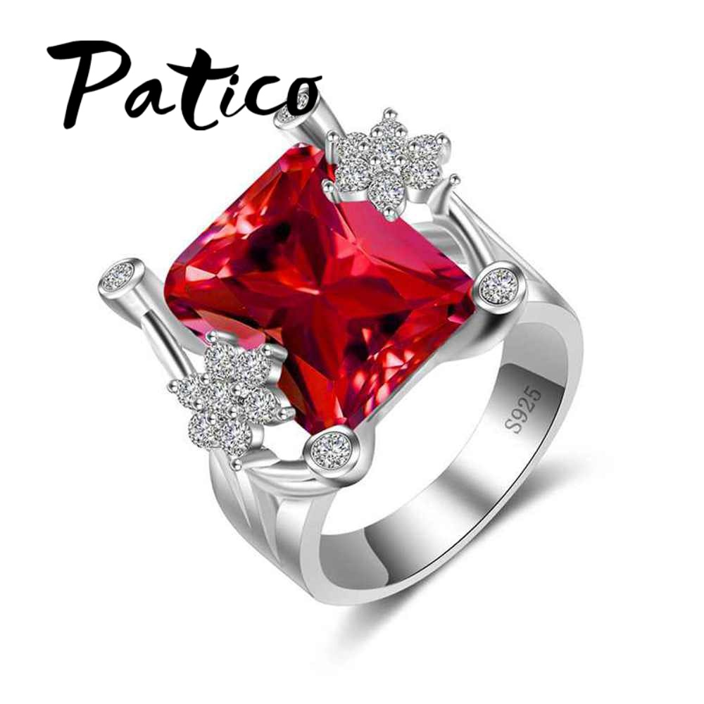 PATICO Red CZ Finger Rings For Ladies 925 Sterling Silver Wedding Rings For Women Luxury Clear Square Princess jewelry Wholesale