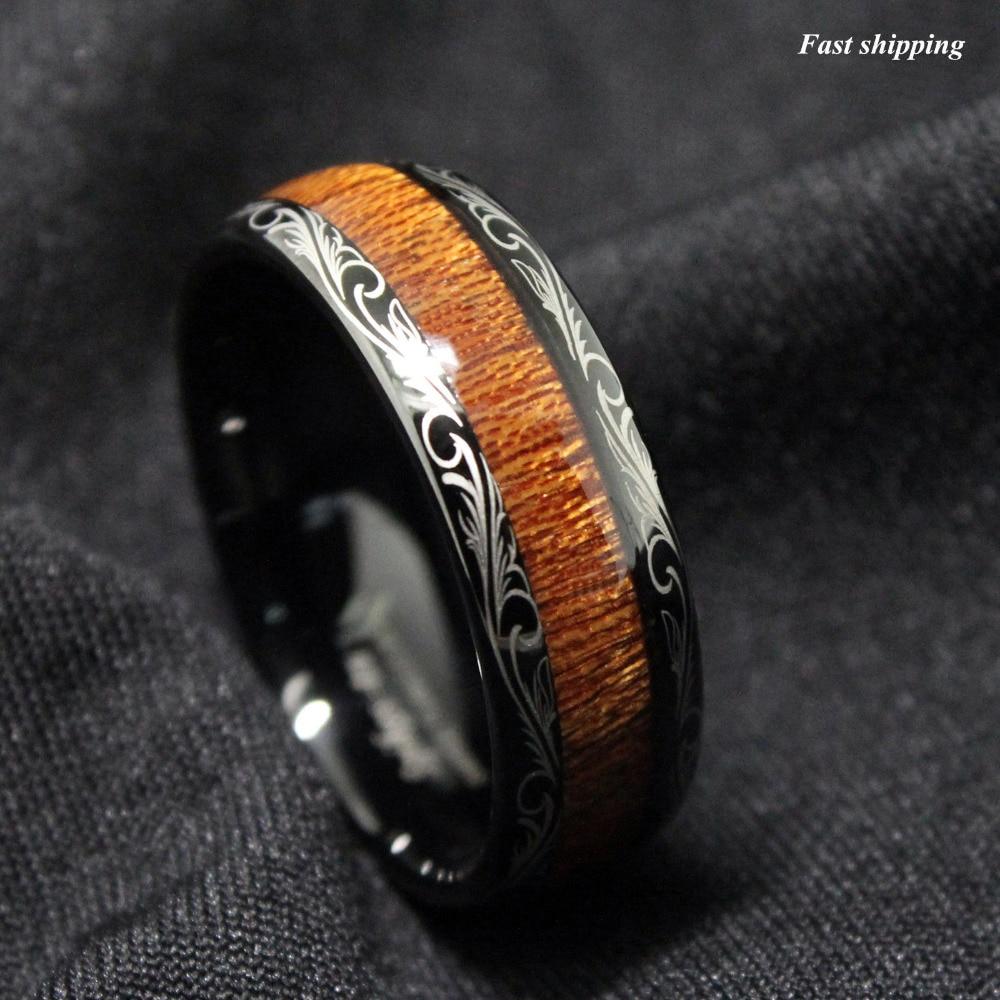 hawaiian ring wooden wedding bands mens Koa with carbon fiber mens wedding band wood ring wood wedding band wooden ring mens wood wedding band koa wood ring wood wedding
