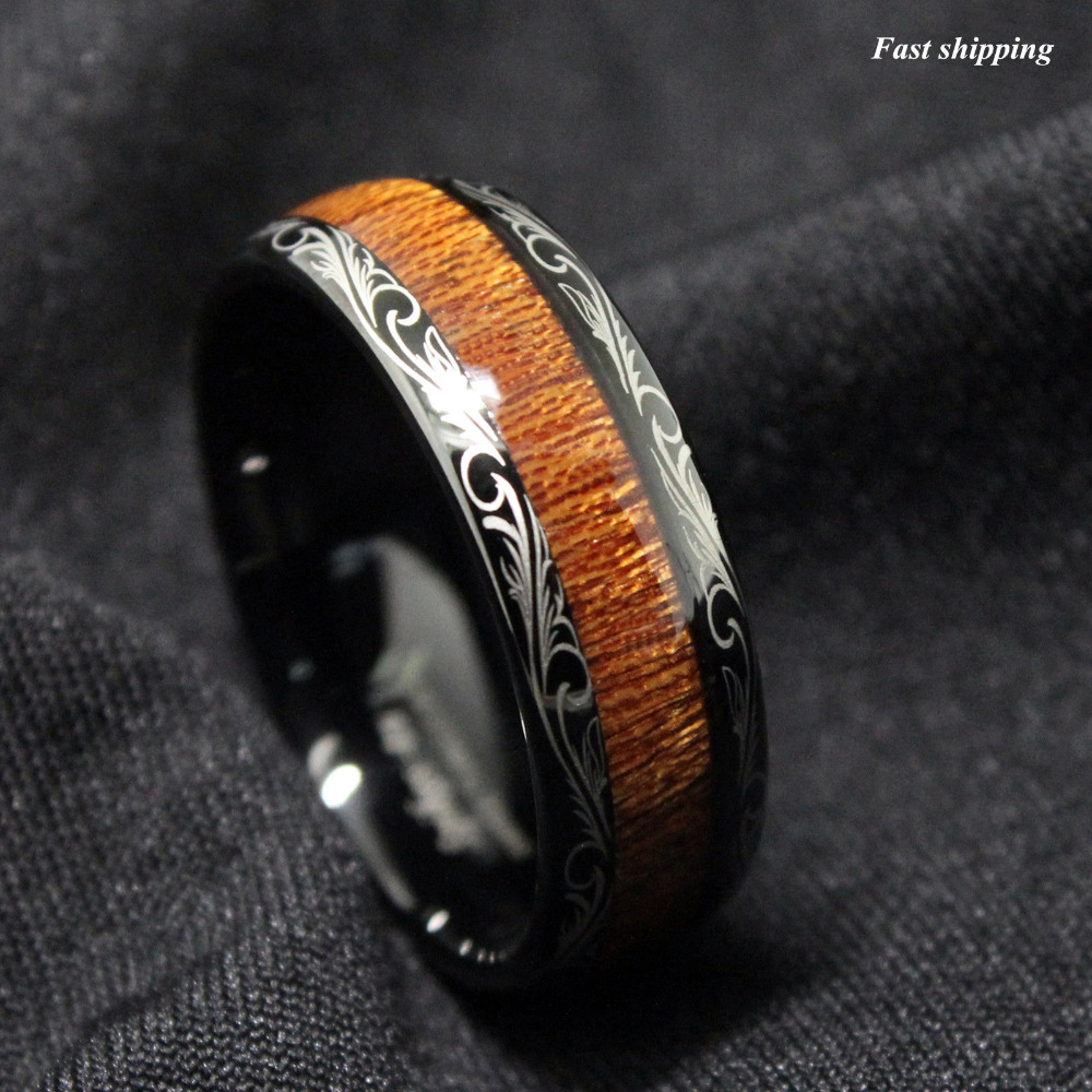 8 mm polished mens exotic wood inlay black titanium wedding band ring mens wooden wedding bands 8mm Polished Exotic Wood Inlay Men s Black Titanium Wedding Band Ring