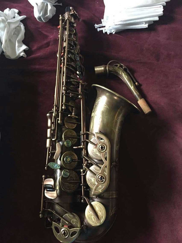 Professional Eb Alto Saxophone Selmer 54 Style Coffee Vintage Whole body engraving with Case Musical instruments alto saxophone selmer 54 brass silver gold key e flat musical instruments saxophone with cleaning brush cloth gloves cork strap