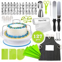 127Pcs/set Practical Cake Decorating Tools Pastry Piping Bag Cream Nozzles Set Cake Turntable Cake Slicer DIY Baking Accessories