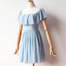Blue Colour Mini Dress Chiffon Dress Bridesmaid Dress for Wedding Party Back of Zipper