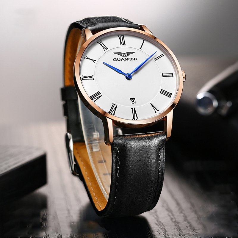 GUANQIN 2018 New Wrist Watches Men Quartz Watch Man Waterproof Wristwatches Leather Band Strap Clock Simple Style Watches Men girls xiaoqing new style joker watches girl students simple trend ulzzang leisure retro wrist watches