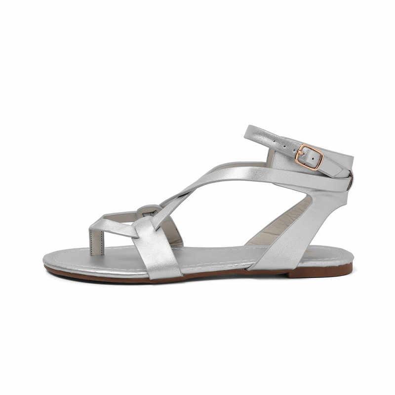 MoonMeek boyutu 36-43 yeni yaz sandalet bayanlar ayakkabı ile toka düz rahat sığ casual Flip flop kadın sandalet 2019
