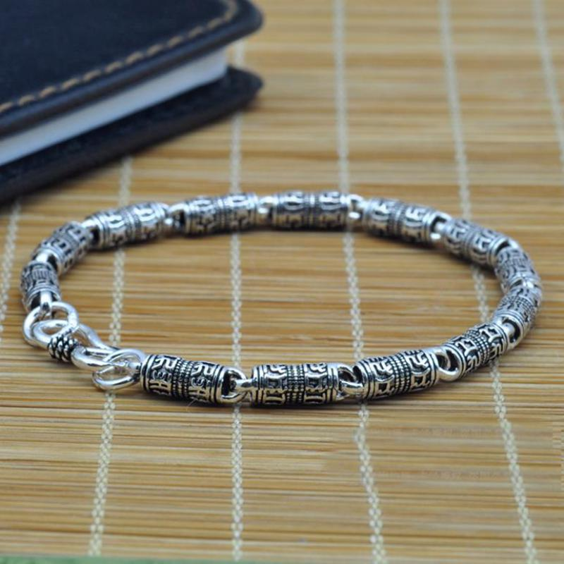 Tibetan Mantra Bracelet Real Pure 925 Sterling Silver Chains For Men Om Mani Padme Hum With Peace Symbol Mens Bracelet 2017
