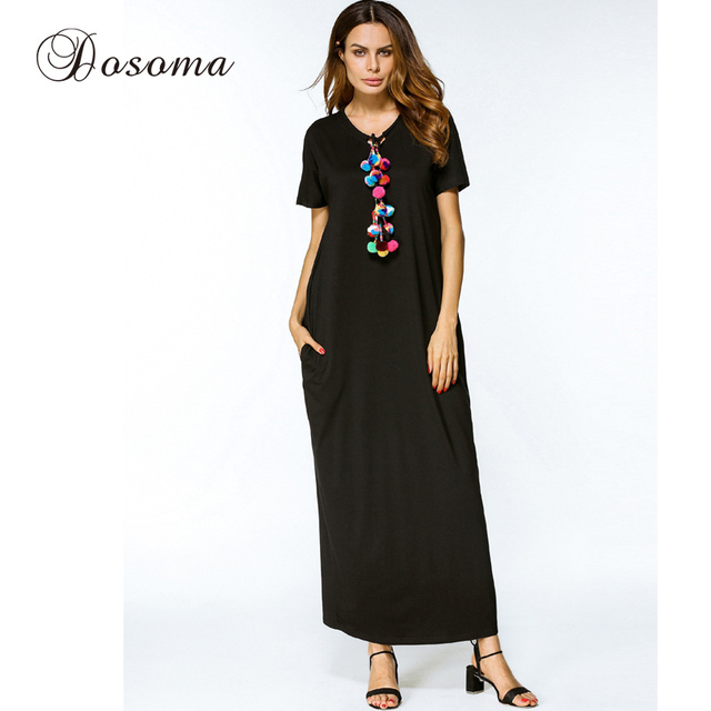 Women Long Robe Plus Size Maxi Dress Casual Muslim Cotton ...