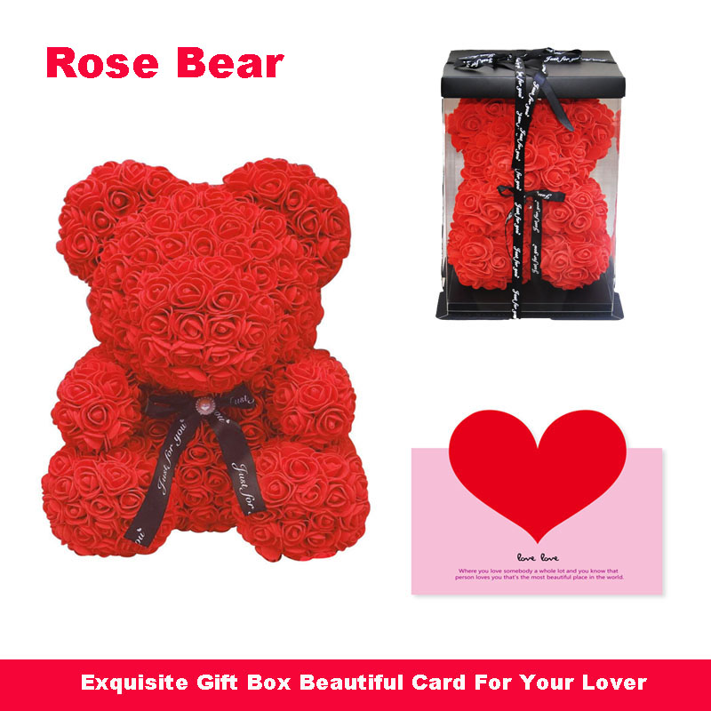 2019 nuevo jabón de oso de rosas oso Rosa flor Artificial Rosa osos regalos de año nuevo para las mujeres de San Valentín regalo de la muñeca