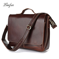 Luufan Shoulder Bag Clutch Bag Men Red brown Business Removable Strap Handy Durable Genuine Leather Vintage Versatile PC Books