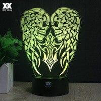 Schädel Angel Wings 3D Lampe FÜHRTE Fernbedienung Nachtlicht Dekorative Tischlampe USB 7 Farben Ändern kindes Geschenk HUI YUAN Marke