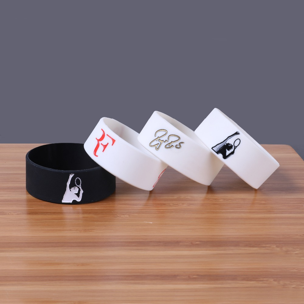 4 Colors Tennis king Roger Federer Silicone Bracelets Sports Silicon Bileklik Wide Version Wristband Trendy Fashion Item Band