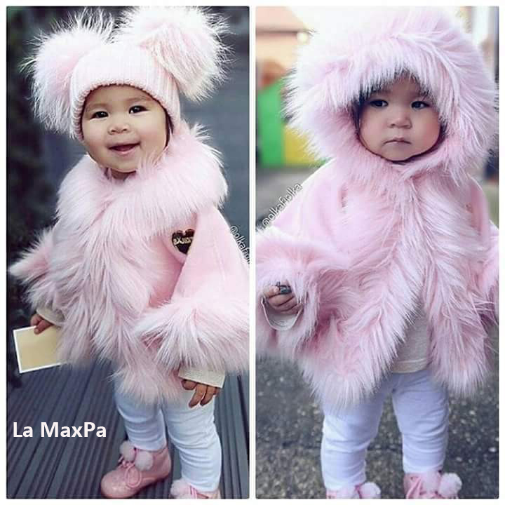 Children girl fur jacket cape infant girls formal princess loading cape baby plush cloak kids gril party cloak Fur coat Boleros formal collarless jacket cape blazer