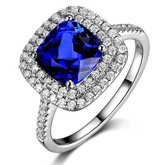 Luxury Color Engagement Ring 2ct Cushion Cut Tanzanite Simulated Diamond  Womens Ring In 9K White Gold