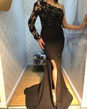 Black 2019 Stylish Black Evening Dresses Long One Sleeve 2019 Side Slit Floor Length Mermaid Formal Dress Sexy Prom Gowns Custom цена 2017