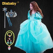 цены на NEW Fancy Little Mermaid Dress for Girls Princess Jasmine Dress Kids Birthday Party Ball Gown Tangled Rapunzel Children Clothing